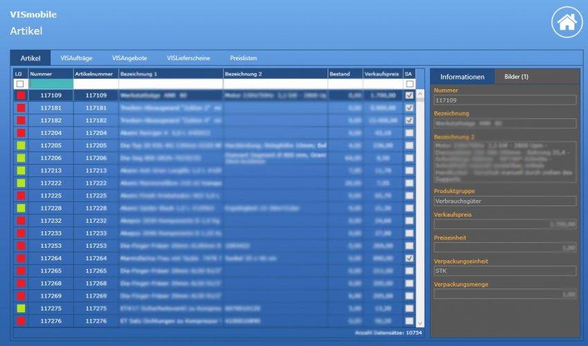 Screenshot Artikel VIS-mobile Außendienst-Steuerung Reisekostenabrechnung Tourenplanung Software Außendienst Controlling