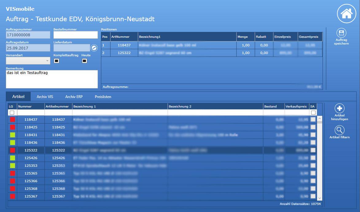 Screenshot Auftrag VIS-mobile Außendienst-Steuerung Reisekostenabrechnung Tourenplanung Software Außendienst Controlling