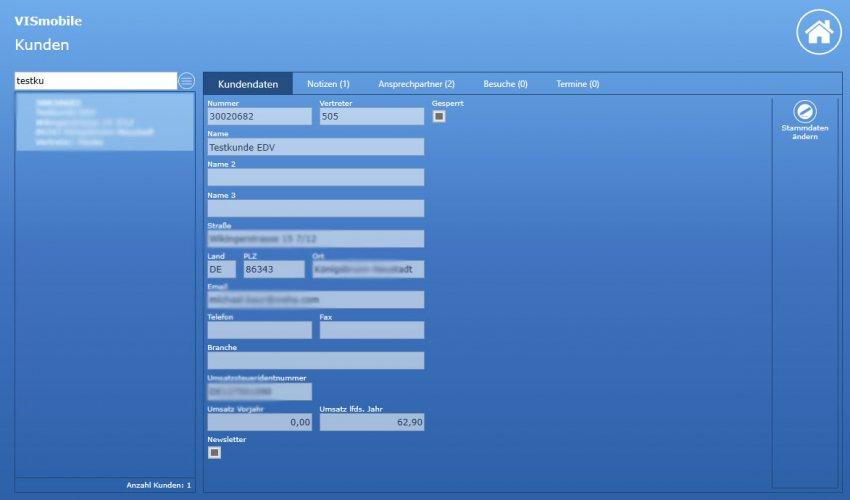 Screenshot Kunden VIS-mobile Außendienst-Steuerung Reisekostenabrechnung Tourenplanung Software Außendienst Controlling
