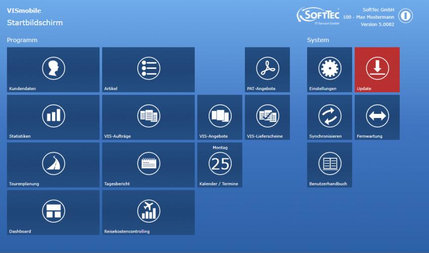 Screenshot Startbildschirm VIS-mobile Außendienst-Steuerung Reisekostenabrechnung Tourenplanung Software Außendienst Controlling