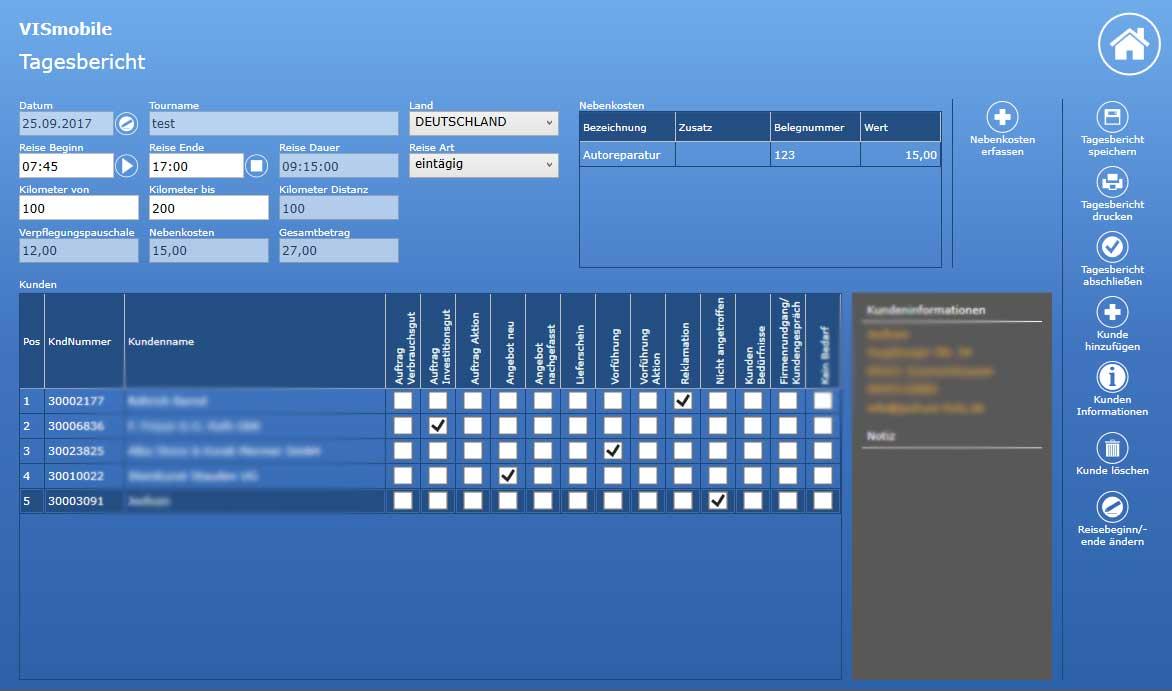 Screenshot Tagesberichte VIS-mobile Außendienst-Steuerung Reisekostenabrechnung Tourenplanung Software Außendienst Controlling