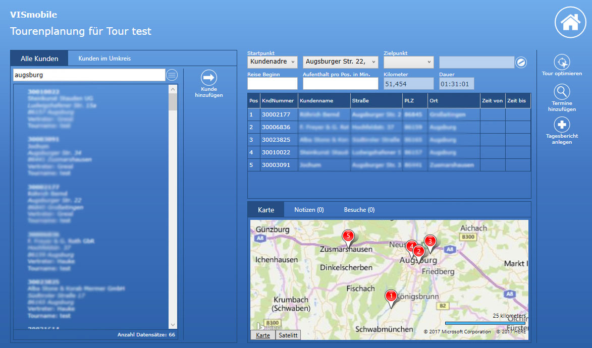 Screenshot Tourenplanung VIS-mobile Außendienst-Steuerung Reisekostenabrechnung Tourenplanung Software Außendienst Controlling
