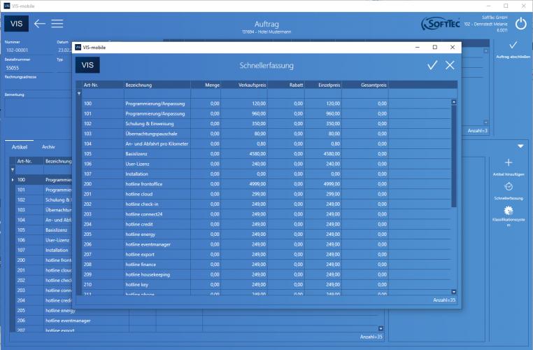Auftrag Schnellerfassung Screenshot VIS-mobile Außendienst-Steuerung