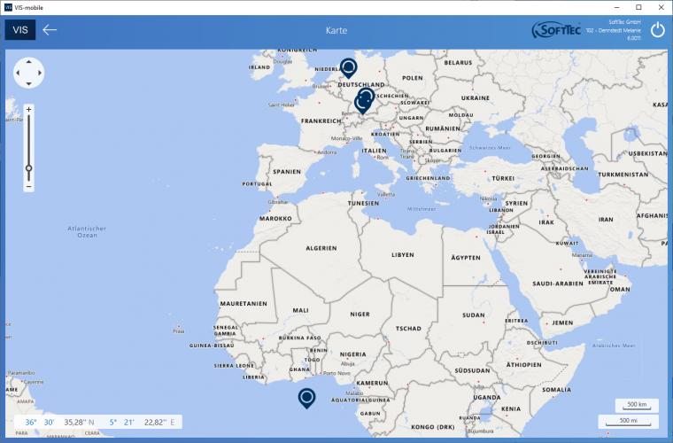 Gebietskarte Screenshot VIS-mobile Außendienst-Steuerung