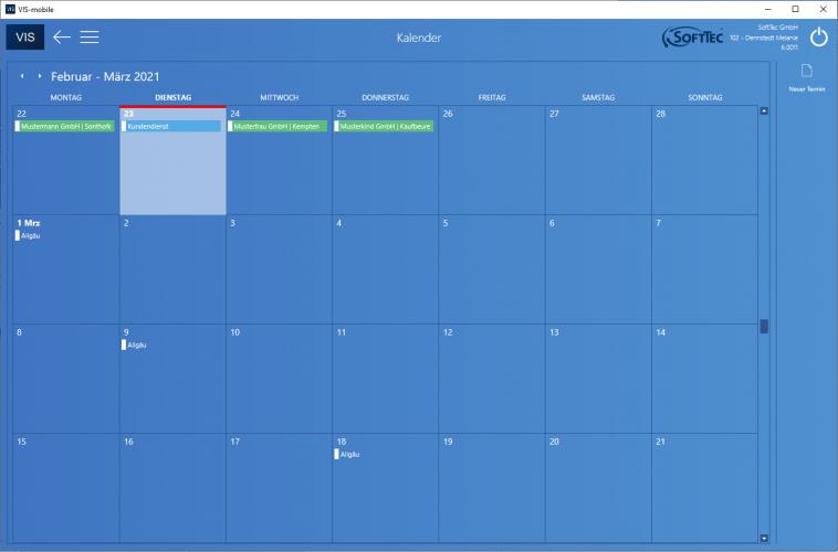 Kalender Screenshot VIS-mobile Außendienst-Steuerung