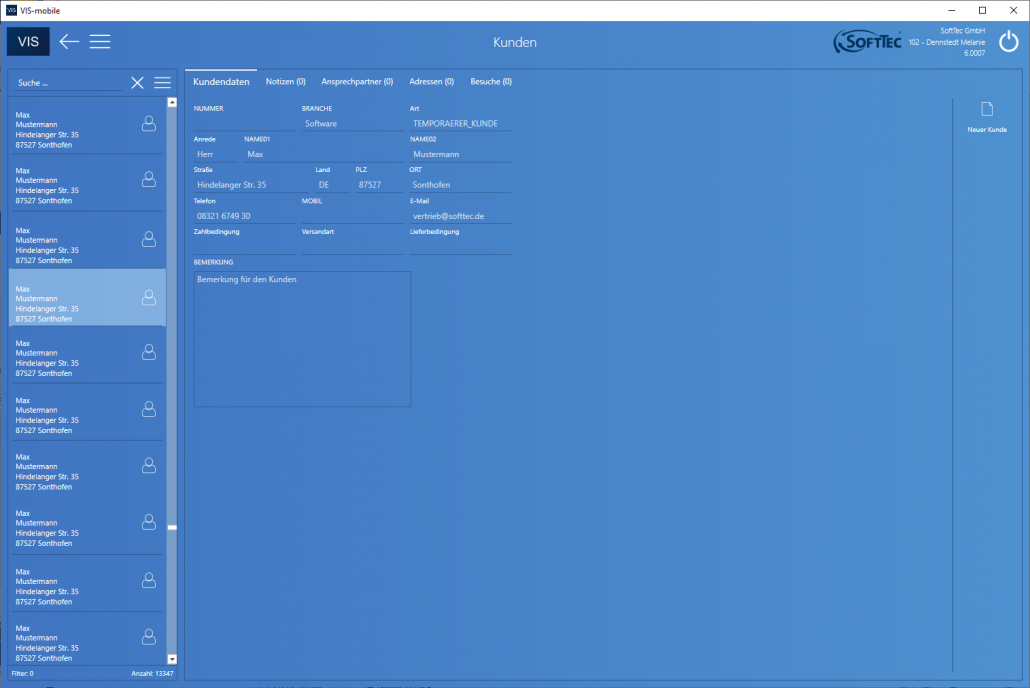 Kunden Screenshot VIS-mobile Außendienst-Steuerung