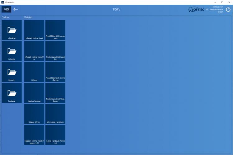 PDF Dokumente Screenshot VIS-mobile Außendienst-Steuerung