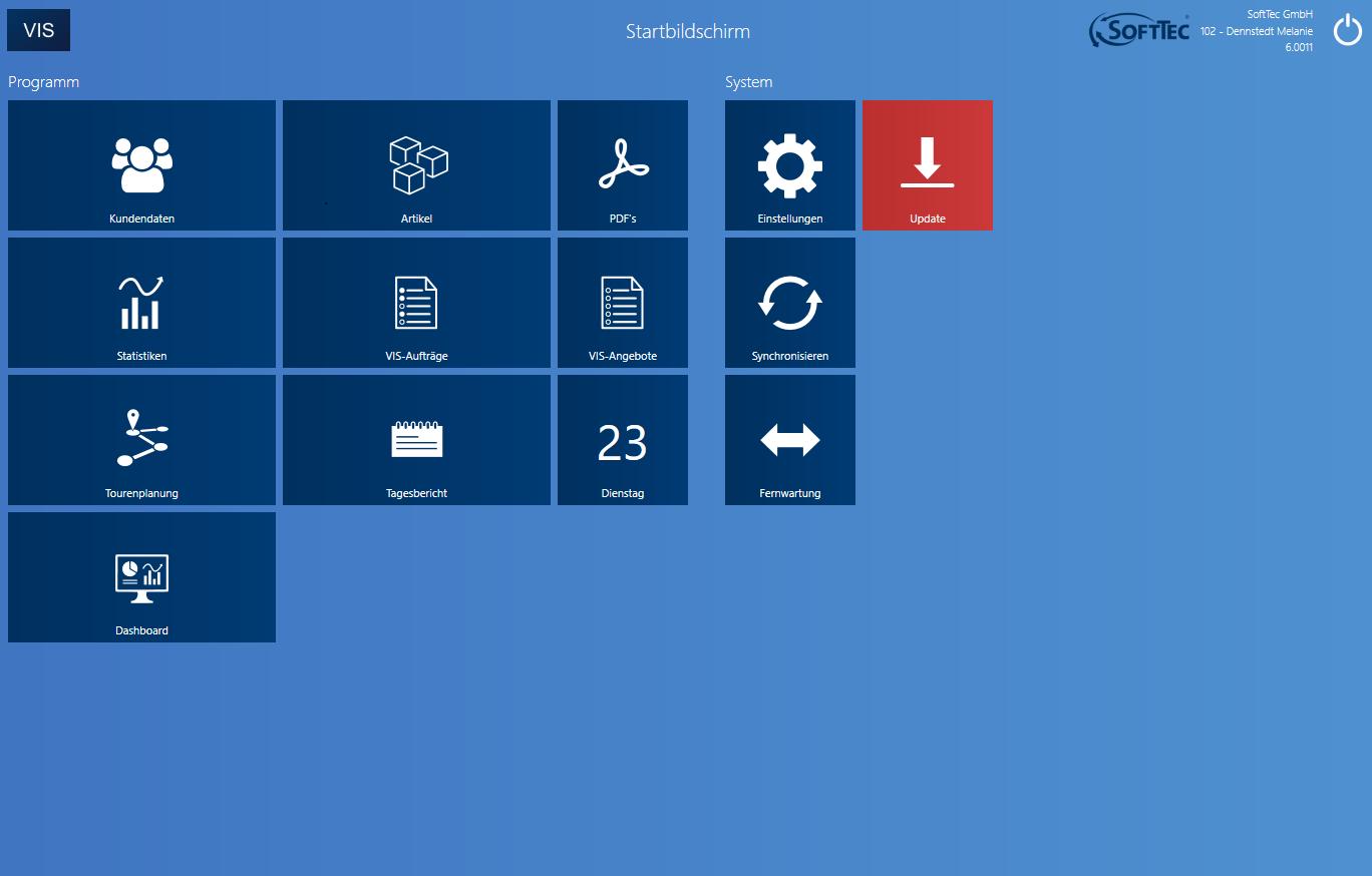 Screenshot Startbildschirm VIS-mobile Außendienst-Steuerung