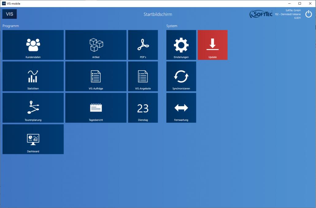 Startbildschirm Screenshot VIS-mobile Außendienst-Steuerung