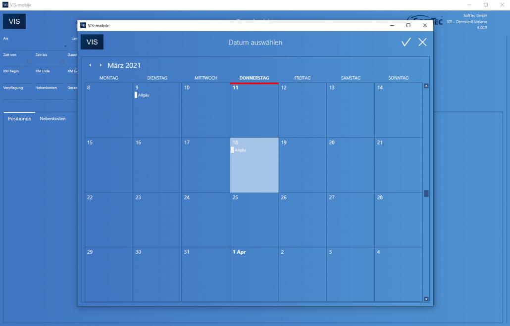 Tagesbericht Datum Screenshot VIS-mobile Außendienst-Steuerung
