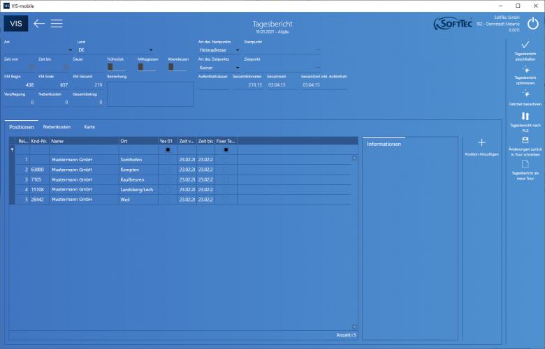 Tagesbericht Screenshot VIS-mobile Außendienst-Steuerung