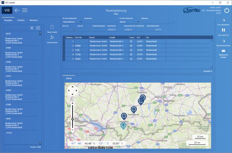 Tourenplanung Screenshot VIS-mobile Außendienst-Steuerung