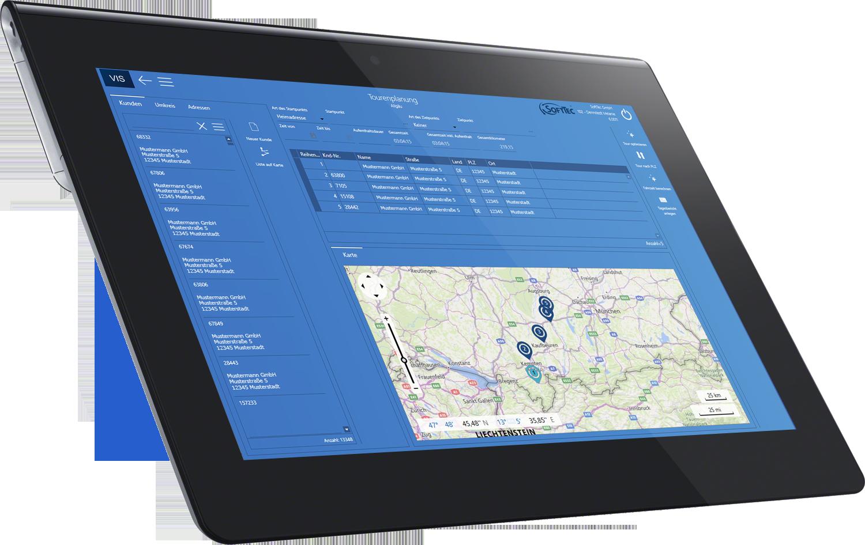 Tablet Tourenplanung VIS-mobile Außendienst-Steuerung